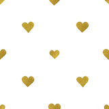 Gold  hearts on white background. Seamless pattern Royalty Free Stock Image