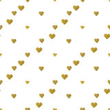 Gold  hearts on white background. Seamless pattern Stock Photos