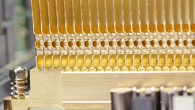 Gold heat sink (radiator) and memory modules installed on PC board stock footage