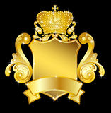Gold heraldic shield Royalty Free Stock Image