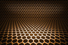 Gold Hex Room Background. Gold Hexmesh Room Background Image Royalty Free Illustration