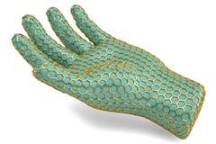 Gold hexagon mesh hand on white background.3D illustration. Gold hexagon mesh hand on white background. 3D illustration stock illustration