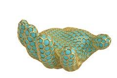 Gold hexagon mesh hand on white background.3D illustration. Gold hexagon mesh hand on white background. 3D illustration vector illustration
