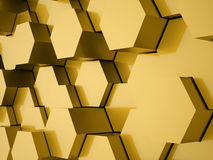 Gold hexagonal background. Concept rendered royalty free illustration