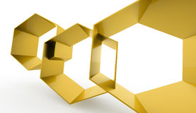 Gold hexagonal cell on white Royalty Free Stock Photography