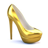Gold high heel shoes. On white background Royalty Free Stock Photos
