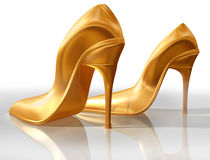 Gold high heels Stock Photo