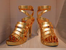 Gold high heels  closeup Royalty Free Stock Photo