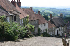 Gold Hill. Shaftesbury. The backdrop to many films, dramas and TV adverts (notably Hovis bread Royalty Free Stock Photography