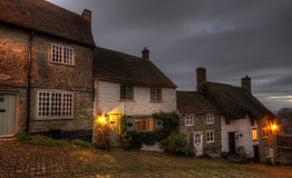 Gold Hill. A row of cottages at Gold Hill in Shaftesbury on a winters night Stock Photography
