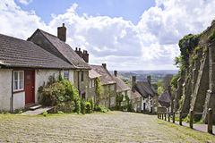 Gold Hill. A quaint rural village street in England, Gold Hill in West Sussex. This iconic street is famous for its use in a 1970's TV advert Royalty Free Stock Photography