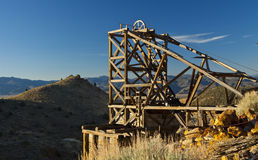 Gold Hill Mine. Old wooden head frame at an abandoned mine in Gold Hill, near Virginia City, Nevada Stock Image