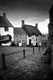 Gold Hill in Shaftesbury, Dorset, England. Black and white Royalty Free Stock Photos