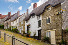 Gold Hill Shaftesbury Dorset. Famous view of Picturesque cottages on cobbled street at Gold Hill, Shaftestbury  Dorset England UK Europe Royalty Free Stock Photography