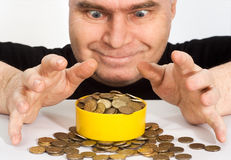 Gold hoard wealth. Pile of gold coins on the table. wealth luck risk royalty free stock image