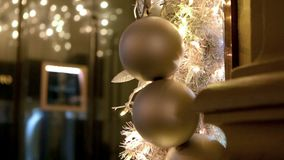 Gold holiday balls. Video of gold holiday balls stock video footage