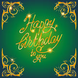 Gold holiday frame green Royalty Free Stock Photography