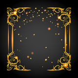 Gold holiday posh frame. Holiday template for design banner,ticket, leaflet, card, poster and so on. Happy birthday background Stock Image