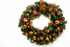 Gold Holiday Wreath Royalty Free Stock Photography