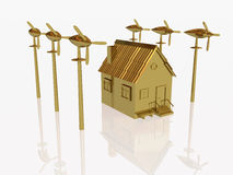 Gold home and wind generators Royalty Free Stock Photos