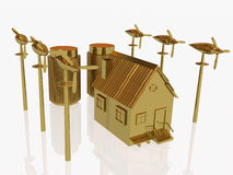 Gold home and wind generators Royalty Free Stock Photo