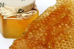 Gold honey. Spring  healthy and  good bee honey Stock Images