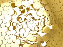 Gold honeycomb pattern background Stock Photo