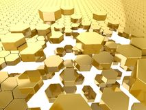 Gold honeycomb pattern background Stock Photography
