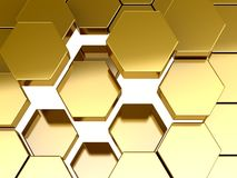 Gold honeycomb pattern background Royalty Free Stock Photos