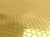 Gold honeycomb pattern background Royalty Free Stock Images