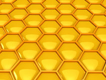 Gold honeycombs. 3d gold honeycombs . Computer generated image Royalty Free Stock Images