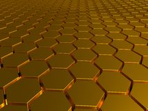 The gold honeycombs, gilded ingots, equal geometrical figures, hexagons put in a row Stock Photos