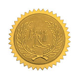 Gold Honor Seal. Gold Star Seal with Honor Roll Wreath Isolated on White Background stock photos