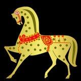 Gold horse on a black background. Illustration Stock Image