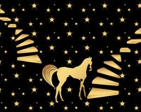Gold horse. Makes a step, gold stairs with right and left side  illustration, star pattern,black background Royalty Free Stock Image