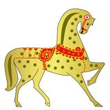 Gold horse on a white background. Illustration Royalty Free Stock Photos