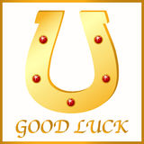 Gold horseshoe for good luck, vector illustration Royalty Free Stock Photography
