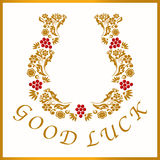 Gold horseshoe for good luck, vector illustration Royalty Free Stock Photo