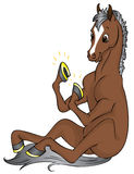Gold horseshoes. Happy brown horse with brand new gold horseshoes Royalty Free Stock Photo