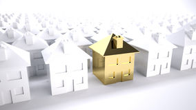 Gold house. Concept of the purfect house choice or property development Royalty Free Stock Images