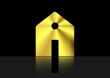 Gold house , home icon metallic ,  isolated or black background Royalty Free Stock Images