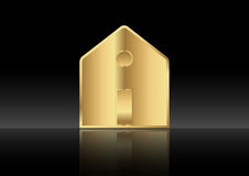 Gold house , home icon metallic ,  isolated or black background Stock Photos