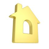 Gold house icon Royalty Free Stock Images