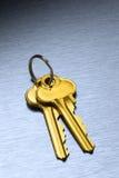 Gold House Keys Keyring Royalty Free Stock Images