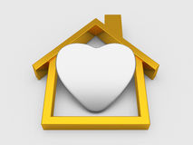 Gold House Symbol And Heart Stock Images