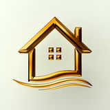 Gold house logo with wave Stock Images