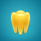 Gold human teeth Stock Images