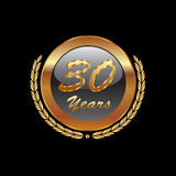 Gold icon  30 years anniversary. Gold laurel wreath 30 years anniversary Royalty Free Stock Photo
