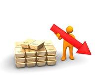 Gold Icon Falling Stock Photo