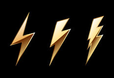 Gold icon lightning Royalty Free Stock Image